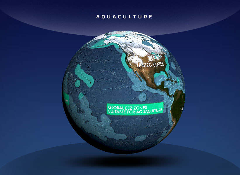 globe showing areas for aquaculture