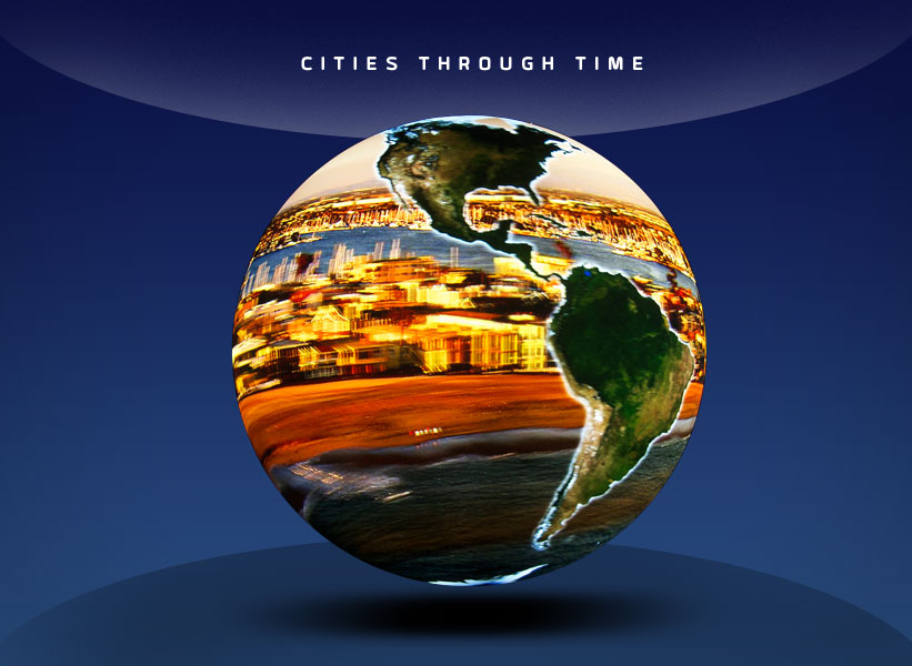 OSC Show - Cities Through Time - globe with a city replacing the ocean