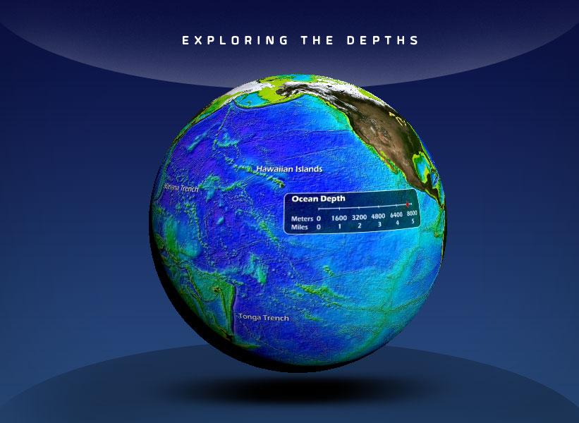 globe showing ocean depth