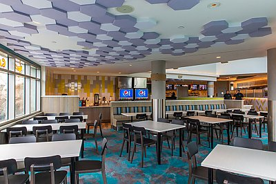 Cafe Scuba tables and hex tiles on the ceiling - thumbnail