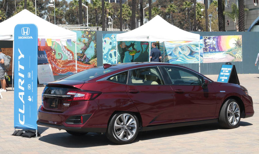 Honda Clarity on the front plaza during a festival